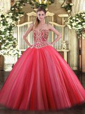 Fancy Tulle Sleeveless Floor Length Sweet 16 Dresses and Beading