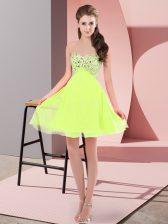 Chiffon Sleeveless Mini Length Homecoming Dress and Beading