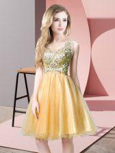 Gold Empire Beading Evening Dress Zipper Tulle Sleeveless Knee Length