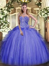 Floor Length Lace Up 15 Quinceanera Dress Blue for Military Ball and Sweet 16 and Quinceanera with Beading and Ruffles