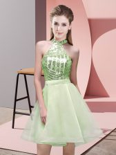 Charming Mini Length Yellow Green Court Dresses for Sweet 16 Halter Top Sleeveless Backless
