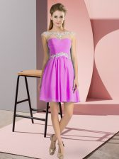 Fancy Lilac Lace Up Scoop Beading Prom Gown Chiffon Cap Sleeves
