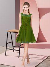 Appliques Dama Dress Olive Green Zipper Sleeveless Knee Length