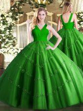 Shining V-neck Sleeveless Zipper 15 Quinceanera Dress Green Tulle