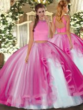 Hot Pink Halter Top Neckline Beading and Ruffles 15th Birthday Dress Sleeveless Backless