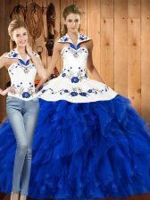 Fantastic Blue And White Quinceanera Dress Military Ball and Sweet 16 and Quinceanera with Embroidery and Ruffles Halter Top Sleeveless Lace Up
