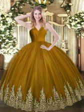 Tulle V-neck Sleeveless Zipper Appliques 15th Birthday Dress in Brown