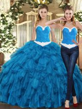 New Style Teal Ball Gown Prom Dress Military Ball and Sweet 16 and Quinceanera with Ruffles Sweetheart Sleeveless Lace Up