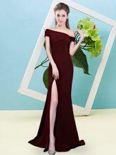 Pretty Sleeveless Zipper Floor Length Ruching Dama Dress