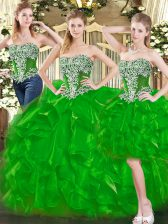 Floor Length Green Sweet 16 Dresses Sweetheart Sleeveless Lace Up