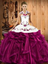 Fuchsia Organza Lace Up Halter Top Sleeveless Floor Length Quinceanera Gown Embroidery and Ruffles