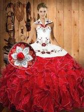 White And Red Ball Gowns Embroidery and Ruffles Sweet 16 Dresses Lace Up Satin and Organza Sleeveless Floor Length