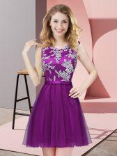 Popular Eggplant Purple Sleeveless Mini Length Lace Side Zipper Quinceanera Court of Honor Dress
