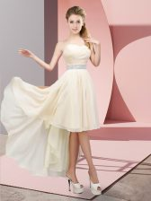 Most Popular Champagne Chiffon Lace Up Sweetheart Sleeveless High Low Quinceanera Court of Honor Dress Beading