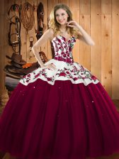 Burgundy Lace Up Sweetheart Embroidery Sweet 16 Dress Satin and Tulle Sleeveless