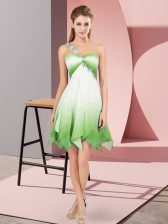Fantastic One Shoulder Sleeveless Prom Dress Asymmetrical Beading Multi-color Fading Color