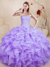 Wonderful Floor Length Lavender Sweet 16 Dresses Organza Sleeveless Beading and Ruffles