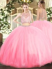 Glamorous Sleeveless Tulle Floor Length Zipper Ball Gown Prom Dress in Baby Pink with Beading
