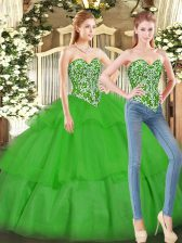 Pretty Green Tulle Lace Up Sweetheart Sleeveless Floor Length Vestidos de Quinceanera Beading and Ruffled Layers