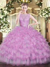 Lilac Ball Gowns Beading and Ruffled Layers Ball Gown Prom Dress Backless Tulle Sleeveless Floor Length
