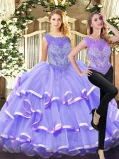Lavender Quinceanera Gowns Military Ball and Sweet 16 and Quinceanera with Beading and Ruffled Layers Scoop Sleeveless Lace Up