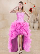 Rose Pink A-line Beading and Ruffles Prom Dress Lace Up Organza Sleeveless High Low