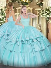 Sleeveless Organza and Taffeta Floor Length Zipper Sweet 16 Dress in Aqua Blue with Beading and Ruffled Layers