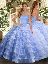 Floor Length Light Blue Sweet 16 Dress Organza Sleeveless Ruffled Layers