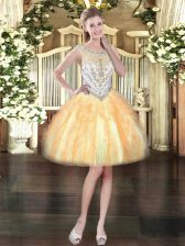 Beauteous Tulle Sleeveless Mini Length Evening Dress and Beading and Ruffles
