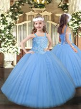 Baby Blue Little Girls Pageant Gowns Party and Quinceanera with Beading Straps Sleeveless Lace Up