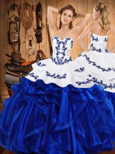 Luxurious Royal Blue Satin and Organza Lace Up 15 Quinceanera Dress Sleeveless Floor Length Embroidery and Ruffles