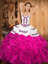 Dynamic Fuchsia Strapless Neckline Embroidery and Ruffles Quince Ball Gowns Sleeveless Lace Up