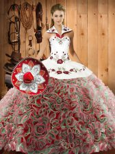 Sexy Halter Top Sleeveless Fabric With Rolling Flowers Quinceanera Dress Embroidery Sweep Train Lace Up