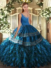 High Quality Blue V-neck Backless Beading and Appliques and Ruffles Ball Gown Prom Dress Sleeveless
