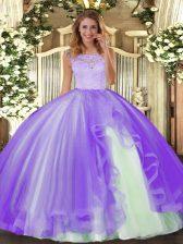 Fancy Lace and Ruffles Vestidos de Quinceanera Lavender Clasp Handle Sleeveless Floor Length