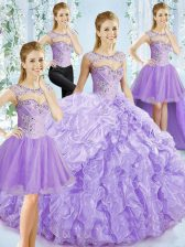 Lavender Sweetheart Neckline Beading and Ruffled Layers Quince Ball Gowns Sleeveless Lace Up