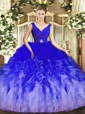 Shining Multi-color Ball Gowns V-neck Sleeveless Tulle Floor Length Backless Beading and Ruffles Sweet 16 Quinceanera Dress