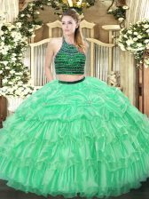 Apple Green Quinceanera Gowns Military Ball and Sweet 16 and Quinceanera with Beading and Ruffled Layers Halter Top Sleeveless Zipper