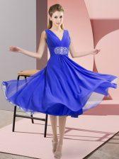 Noble Blue Empire Beading Damas Dress Side Zipper Chiffon Sleeveless Knee Length