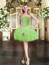 Cheap Sleeveless Organza Lace Up Evening Dress for Prom and Party