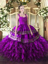 Purple Ball Gowns Straps Sleeveless Organza Floor Length Zipper Appliques and Ruffles Sweet 16 Dress