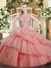 Scoop Sleeveless Tulle Sweet 16 Dress Beading and Ruffled Layers Backless