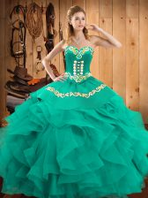 Designer Satin and Organza Sleeveless Floor Length Quinceanera Gowns and Embroidery and Ruffles