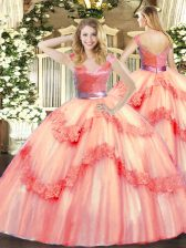 Inexpensive Watermelon Red Ball Gowns Tulle V-neck Sleeveless Beading and Appliques Floor Length Zipper Quinceanera Dress