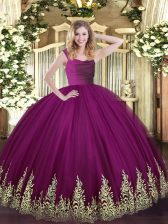 Fuchsia 15th Birthday Dress Military Ball and Sweet 16 and Quinceanera with Lace and Appliques Straps Sleeveless Zipper