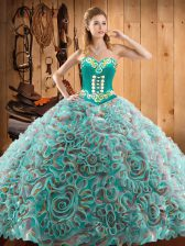 Sweetheart Sleeveless Sweep Train Lace Up Quinceanera Gowns Multi-color Satin and Fabric With Rolling Flowers