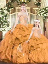 Orange Red Organza Lace Up 15th Birthday Dress Sleeveless Floor Length Beading and Ruffles
