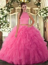 Chic Floor Length Hot Pink Quinceanera Dresses Tulle Sleeveless Beading and Ruffles
