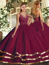 Burgundy V-neck Backless Ruffled Layers Quince Ball Gowns Sleeveless