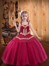 Popular Red Sleeveless Embroidery Floor Length Kids Formal Wear